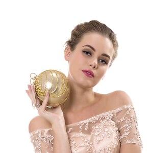 Image 5 - SEKUSA круглая кисточка стразы женские вечерние сумки с ручкой с бриллиантами металлические сумки для свадьбы/Вечеринки/ужина вечерние сумки