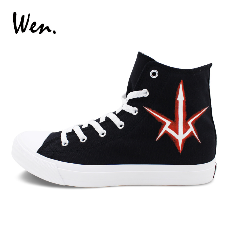 Wen Hand Painted Anime Shoes Custom Design Code Geass Sneakers Women Men Graffiti Shoes Black Canvas High Top Plimsolls Flats wen design custom hand painted canvas fashion shoes colorful lipsticks high top shoes sneakers white graffiti shoes men women