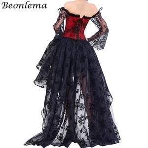 Image 2 - BEONLEMA Corset en dentelle avec manches longues, tenue Sexy gothique, noir, Bustier, rouge, Steampunk, vêtement de grande taille
