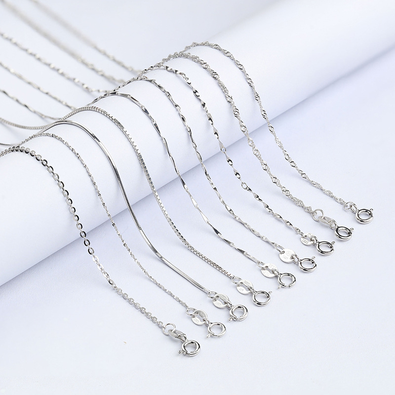 ALI shop ...  ... 32851991551 ... 4 ... Classic Basic Chain 100% 925 Sterling Silver Lobster Clasp Adjustable Necklace Chain Fashion Jewelry for Women 45cm ...