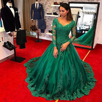 Formal Emerald Green EveningDress 2019 Long Sleeve Lace Applique Beads Plus Size Prom Gowns robe de soiree