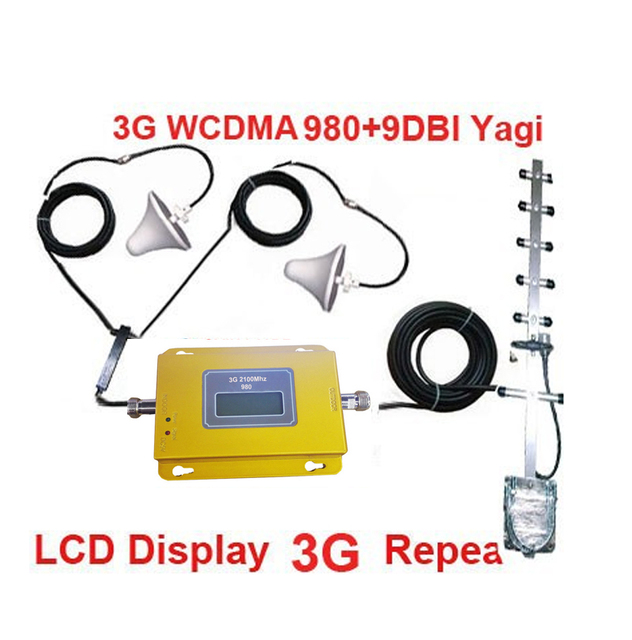 LCD display 950 WCDMA 2100Mhz booster W/ 21M Cable+2 indoor Antennas,3G repeater signal amplifier 3G booster repeater kits