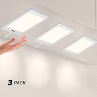 Touchless Hand Sensor 5W LED Under Cabinet Cupboard Lamp Panel Light DC12V Hardwired Connection Power Adapter White Lighting