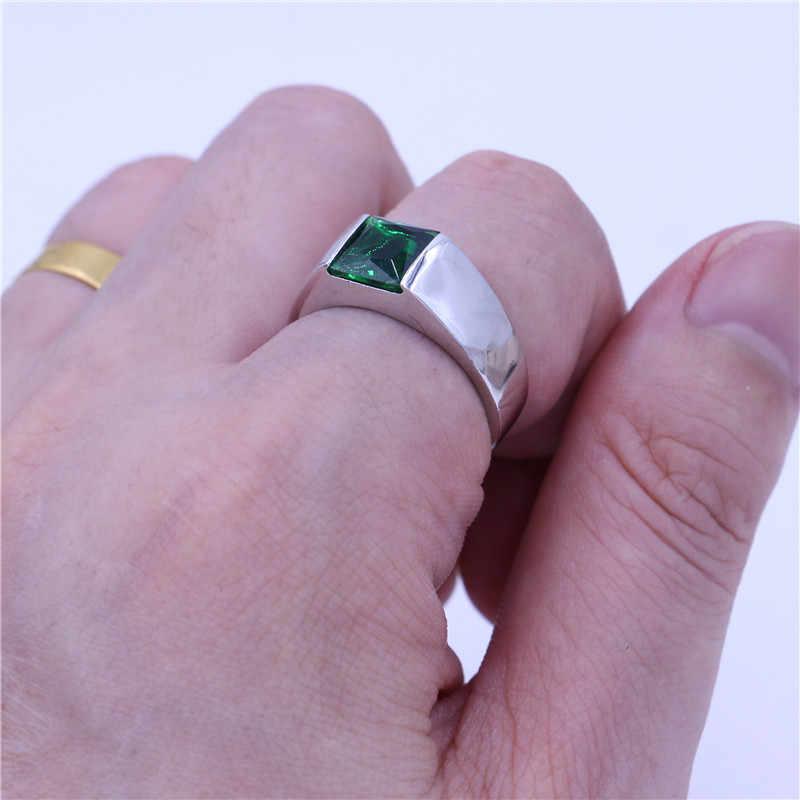 Vecalon Fine สีเขียว Birthstone แหวนผู้ชายเจ้าหญิงตัด 3ct 5A Zircon CZ 925 เงินสเตอร์ลิงแหวนหมั้นแหวนสำหรับผู้ชาย