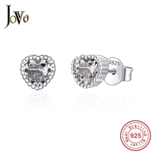 JOVO Sterling 100% 925 silver jewelry women heart earrings big Cubic zircon girl wedding gift Simple Fashion Women Accessores