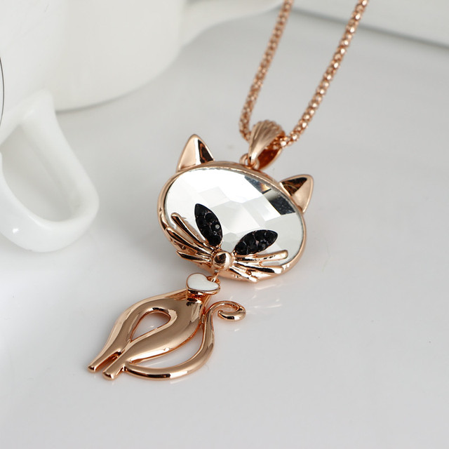 Long Chain Rhinestone Cat Necklace