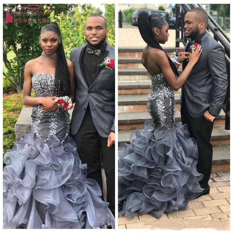 2019 Black African Girls Crystal Beaded Mermaid Prom Dresses Ruffles Organza Backless Evening Party Gowns JQ188