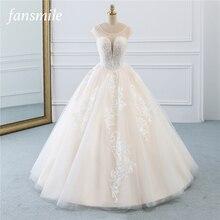 فساتين زفاف من فانسميل ذات لون عتيق لحفلات الزفاف من التول بمقاسات كبيرة من الدانتيل 2020 فساتين زفاف للعروس FSM 520F