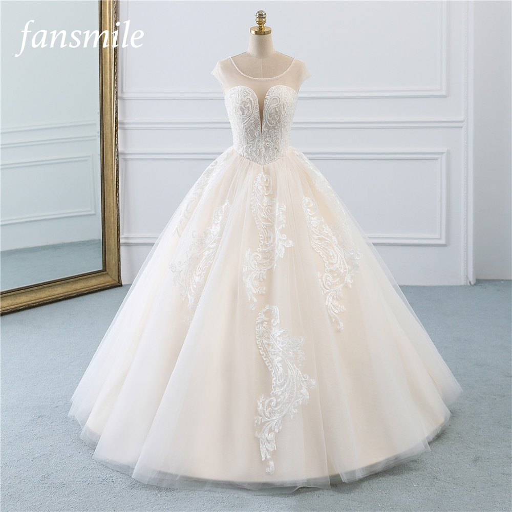 Fansmile Illusion Vintage Princess Ball Gown Tulle Wedding Dresses 2019 Quality Lace Plus Size Wedding Bride Dresses FSM-520F