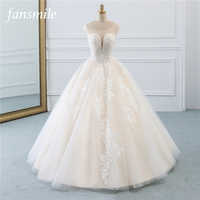 Fansmile Illusion Vintage Princess Ball Gown Tulle Wedding Dresses 2019 Quality Lace Plus size Wedding Bride Dresses FSM-520F