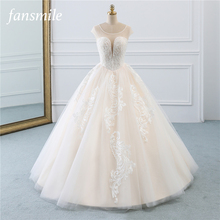 Fansmile Illusion Vintage Princess Ball Gown Tulle Wedding Dresses 2020 Quality Lace Plus size Wedding Bride Dresses FSM 520F