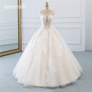 Image 1 - Fansmile Illusion Vintage Princess Ball Gown Tulle Wedding Dresses 2020 Quality Lace Plus size Wedding Bride Dresses FSM 520F