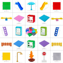 Big size particle building blocks Bricks Bottom plate Door window stairs slide Accessories wiht duploeds toys for children kids(China)
