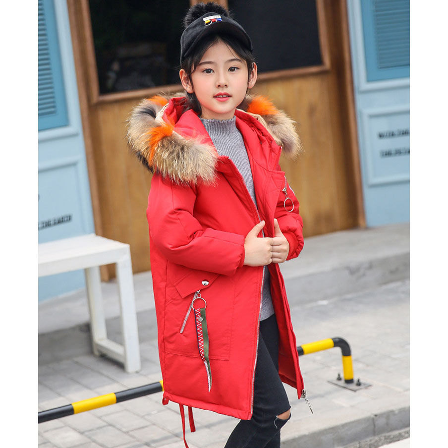 2018 children down jacket girls winter long section kids clothing thick coat -30 degree warm outerwear for 7 9 10 11 13 years купить в Москве 2019