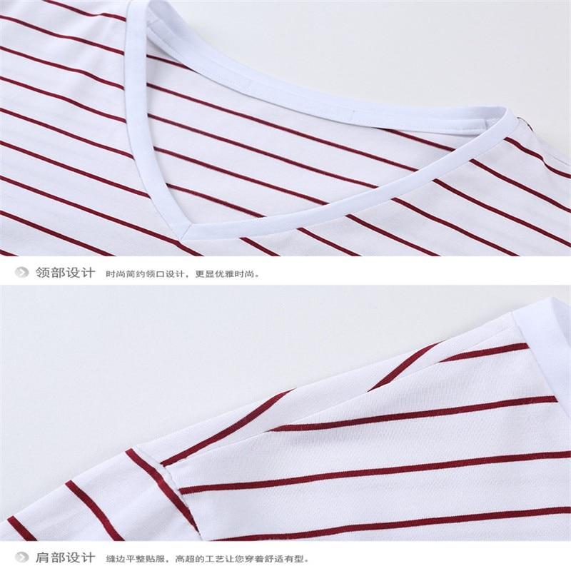 Liseaven New Men V Neck Striped T-shirt Short Sleeve tshirt Fashion Men's tees Clothing 14