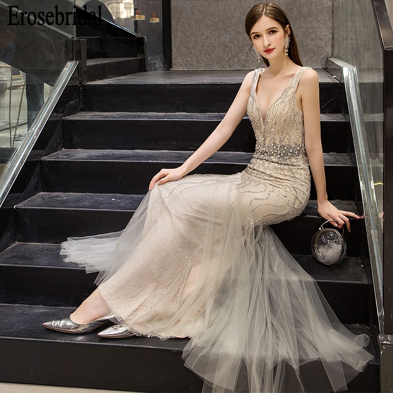 Mermaid   Evening     Dress   Long 2019 Beaded Lace Formal   Dresses     Evening   Gown for Women Elegant V Neck/Back 7 Colors robe soiree