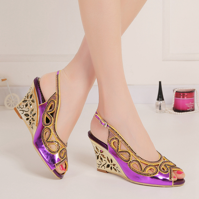 b8d211ac9ba9 3 Inch Wedge Heels Ladies Sandal Shoes Woman Summer Style Wedges Sandals  Zapatos Mujer Wedding Party Wedge Shoes Dancing Sandal