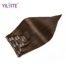 YILITE kahekordne tõmmatud Euroopa Remy inimese juuksed siidine sirge täispea klamber juuste pikendamiseks 7-kohaline 14inch-16inch pruuni värvi