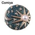 Comiya azul simulado pérola lua estrela pingentes forma broches para as mulheres do partido encantador fresco broche pinos banhado a ouro aliexpress