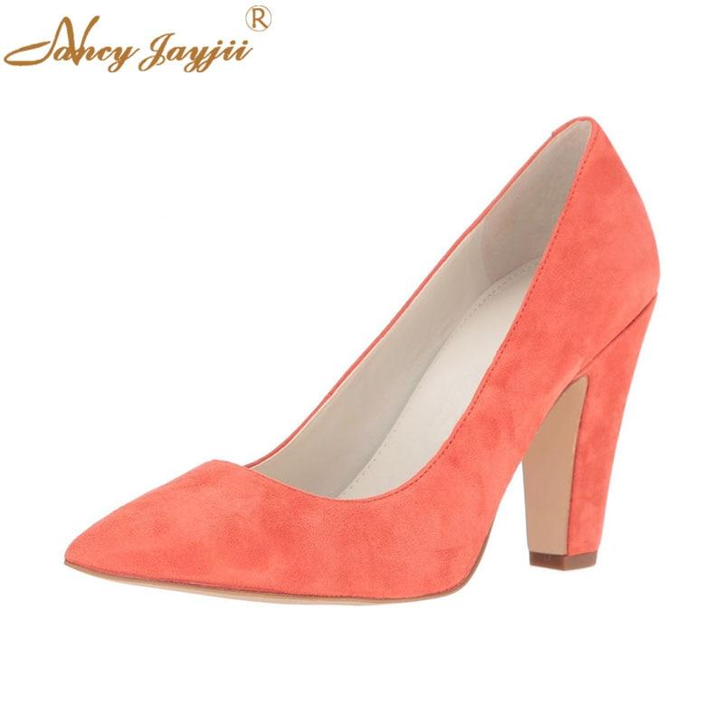 Femme Lady Partie Bout on Classique Slip Adulte Chaussures Nancyjayjii Chunky Haute Pompes Pointu Ty01 automne Talons Troupeau Printemps Sexy Super vtTxqd