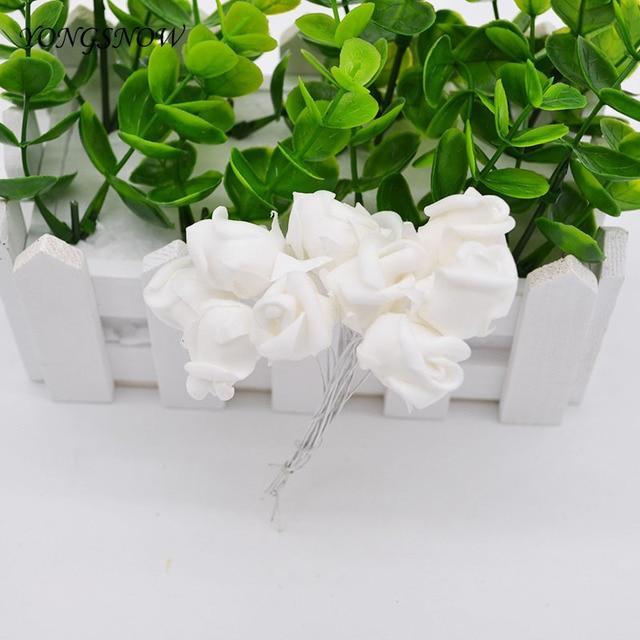 144 Pcs 2 Cm Mini Fleur De Mousse Artificielle Blanc Rose Fleurs
