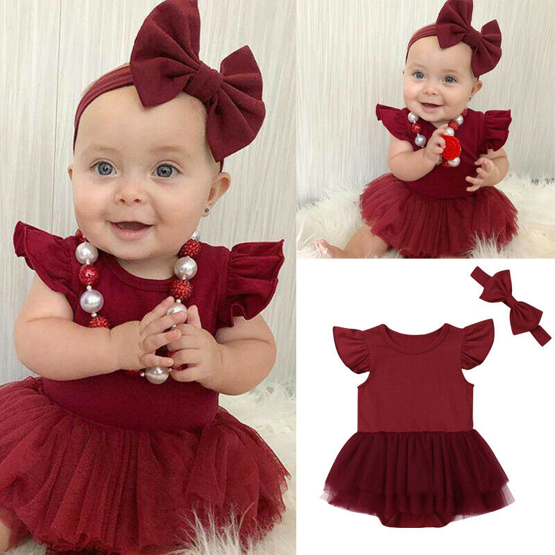 Imcute 2019 New In Fashion Newborn Infant Kid Baby Girl Fly Sleeve Solid Romper Tutu Princess Dress Headband Causal Outfits Set