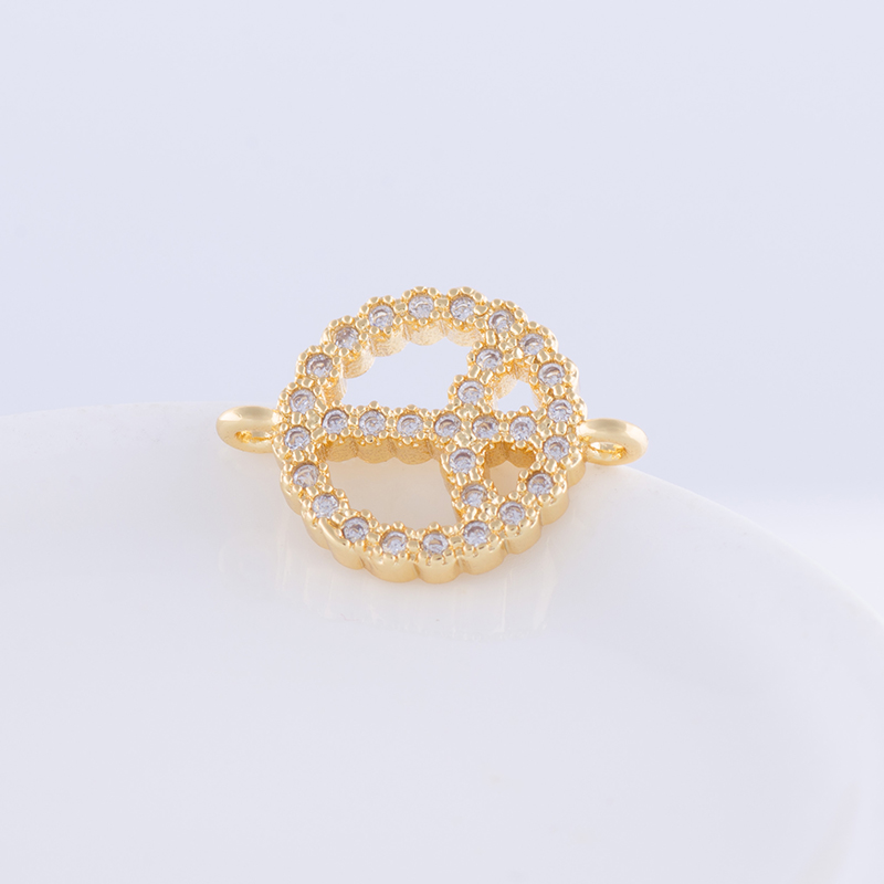 Micro Pave CZ Rhinestone components for jewelry making European Peace symbol Charms Connector For Bracelet Necklace Accessories