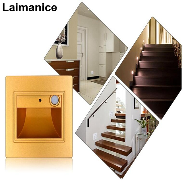 1.5W PIR Motion Detector+ Light Sensor Led Stair Lights Infrared Human Body  Induction Lamp Recessed