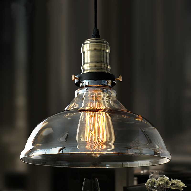 Dia*28cm American industrial loft vintage pendant light glass iron for dining room color E27 Edison bulb home lamp nordic american edison bulb loft industrial glass stone point ceiling lamp vintage pendant lights cafe bar dining room light