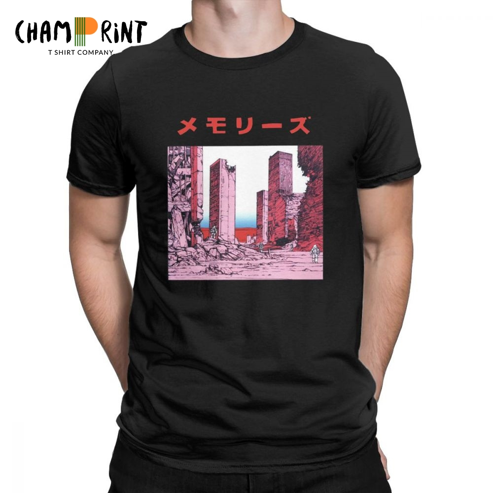 Katsuhiro Otomo Memories Casual   T     Shirt   for Men Akira Manga Vaporwave Short Sleeve Tops Gift Tees 100% Cotton Round Neck   T  -  Shirt