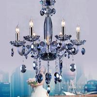 Cafe 6 arm Lake blue lamp crystal chandelier lighting hallway modern wedding Kitchen lighting Bar LED fixture Lustre de Cristal