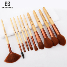 все цены на SEPROFE New 10 Pcs Bamboo Handle Makeup Brushes Set Foundation Powder Blush Eye Shadow Lip Brushes Face Beauty Makeup Tools Kit онлайн
