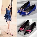 Sexy Pointed Toe Flat Shoes 2016 Spring Single Shoes Shallow Mouth Shoes Chaussures Femme Female Patent Leather Flats