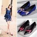 Sexy Punta estrecha y Zapatos Planos 2016 de Primavera Solos Zapatos de La Boca baja Zapatos Chaussures Femme Hembra de Charol Pisos