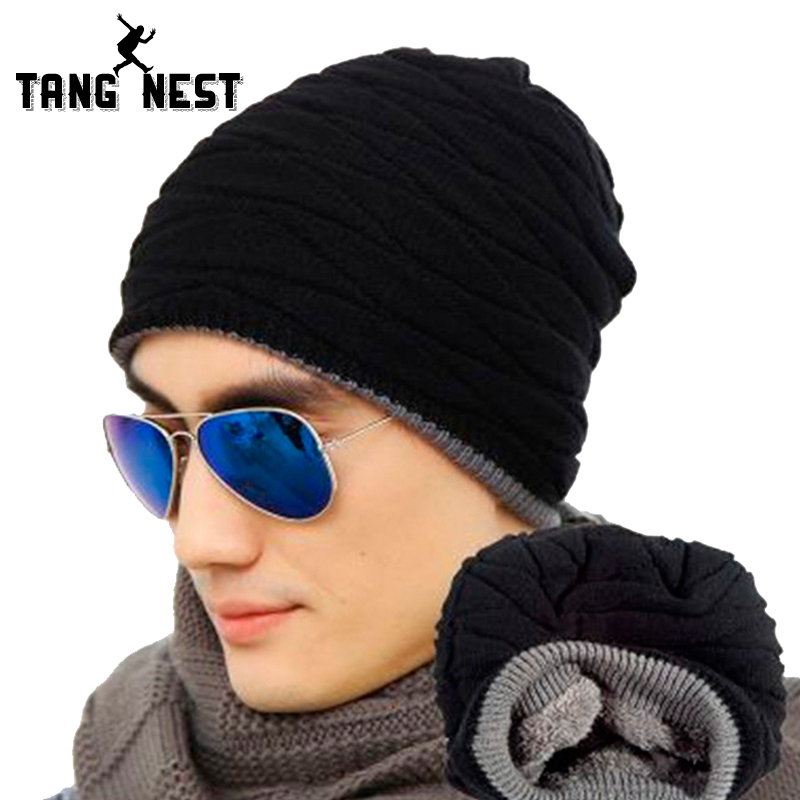 2018 Mens Winter New Style Casual Warm Sweater Hat Plus Velvet Hot Selling Adult Solid Great Design Male Hat PMM213