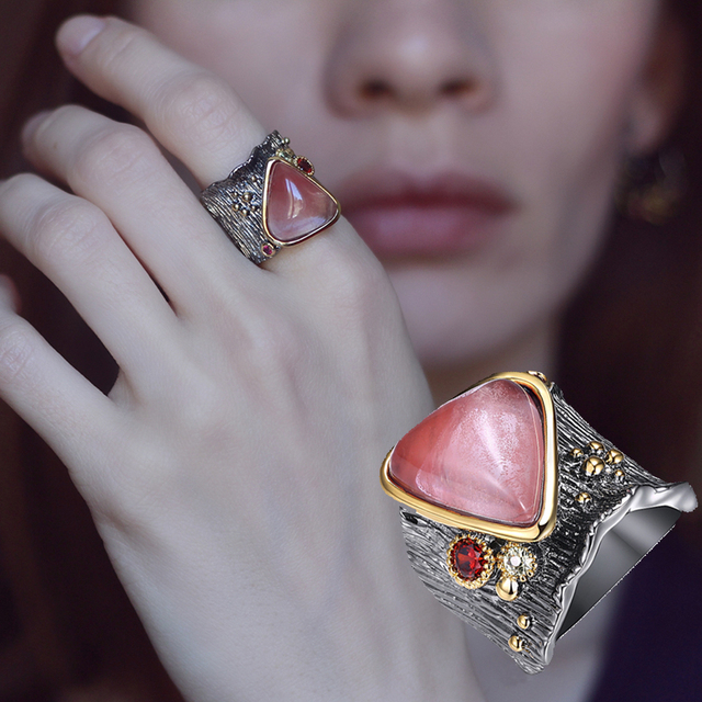 New charming big triangle pink stone rings for women trendy jewelry black plated free shipping pretty jewellery large ring