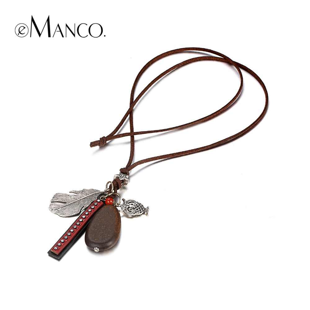 e-Manco Bohemian Charm Pendant Necklace For Women Vintage Long Feather Necklace Collares Mujer Ethnic Fashion Jewelry For Friend