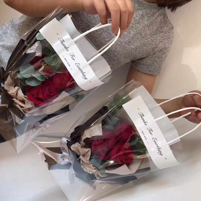 10pcs Florist Decoration Big Tote Bag Flower Bouquet Bag Transparent Gift Bag Wrapping Flower Decor Florist Gift Packaging Bag
