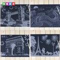 41*29 cm Niños de Atracciones Mundialmente cero/pinturas edificio Famoso raspado dibujo para niños juguetes educativos