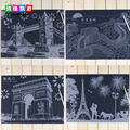 41*29cm Children World Attractions scratch paintings/  Famous building scraping drawing for kids educational toys