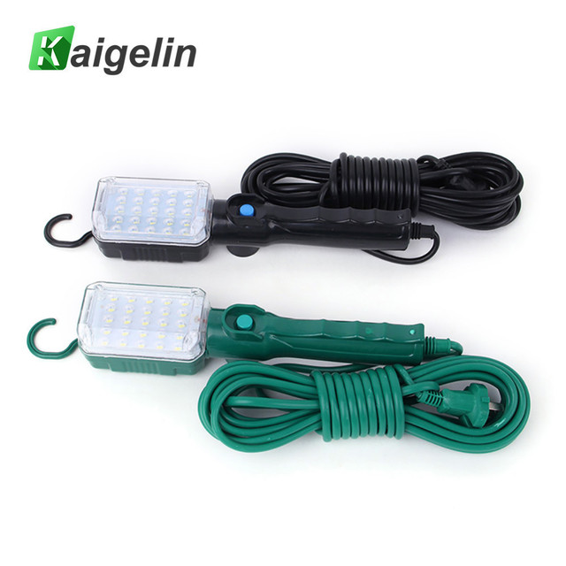 Kaigelin LED Portable Work Light 25 LED Beads Flashlight Car Inspection Repair Handheld Work Lamp Camping Lantern With Hook&Plug