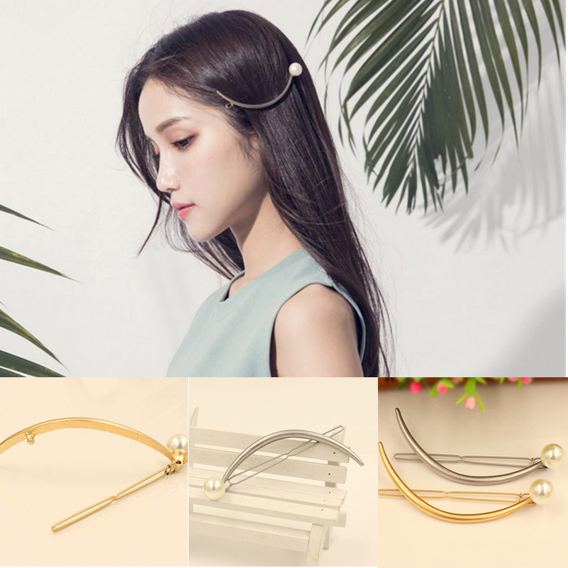 2017 New Hairpins Pearl Moon Hair Pin Jewelry Lip Round Hair Clip For Women Barrettes Head Accessories Bijoux De Tete Headwear