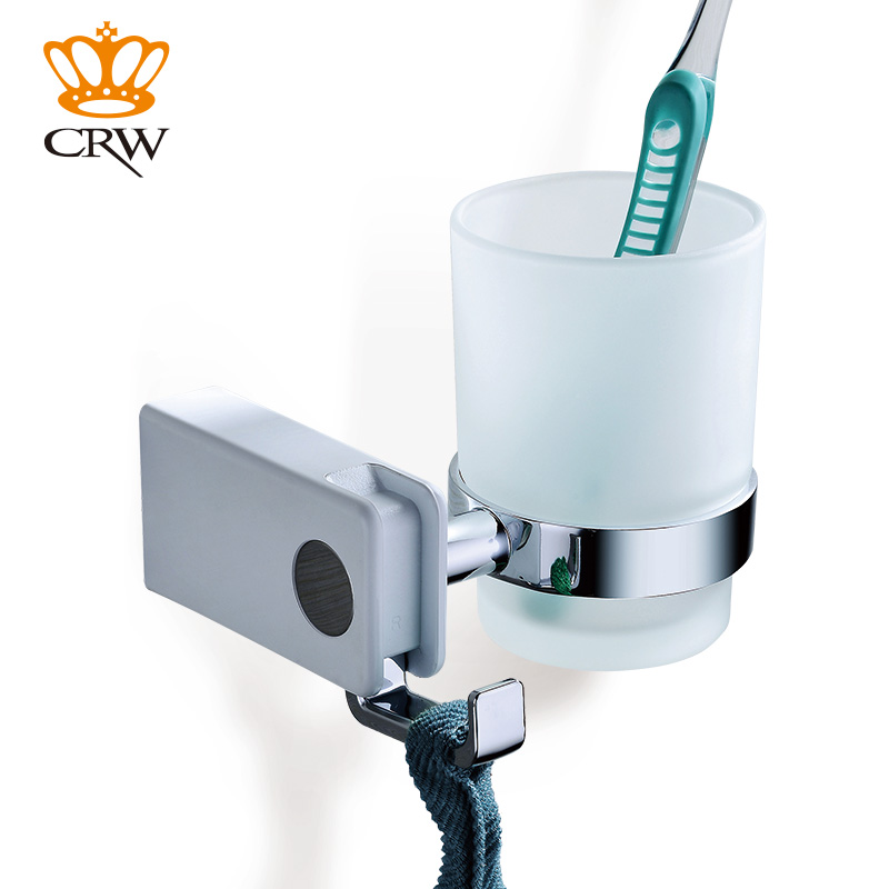 CRW Toothbrush Holder for Bathroom Single Glass Cup Tumbler Holder with Towel Hook Wall Mount White image