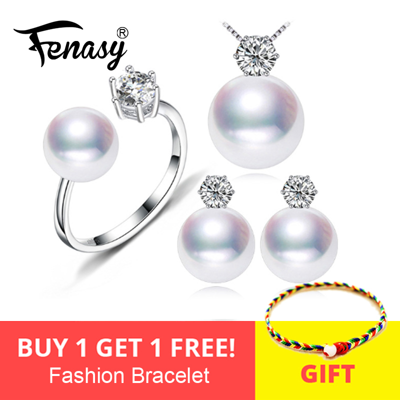 FENASY Freshwater Pearl Jewelry Sets S925 Sterling Silver OL Necklace Career Earrings Ring For Women Anniversary Birthday Party FENASY Freshwater Pearl Jewelry Sets S925 Sterling Silver OL Necklace Career Earrings Ring For Women Anniversary Birthday Party