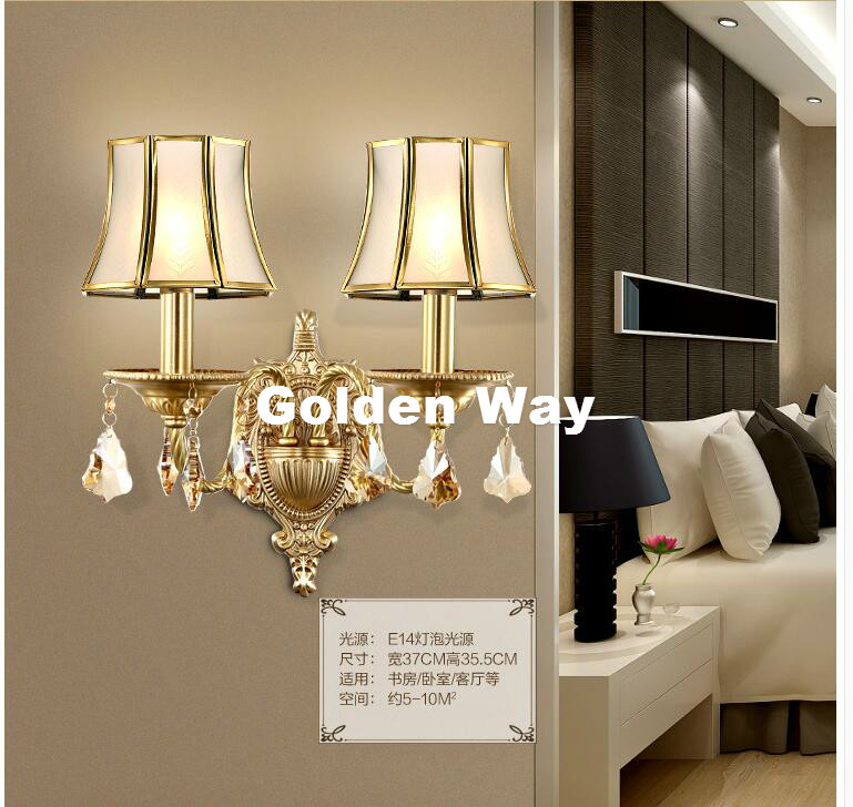 New Modern Nordic Style Copper Wall Lamp Single/Double Head Hallway Light Bedroom Brass Glass Wall Sconce E14 AC 100% Guaranteed new bullet head bobbin holder with ceramic tube tip protecting lines brass copper material