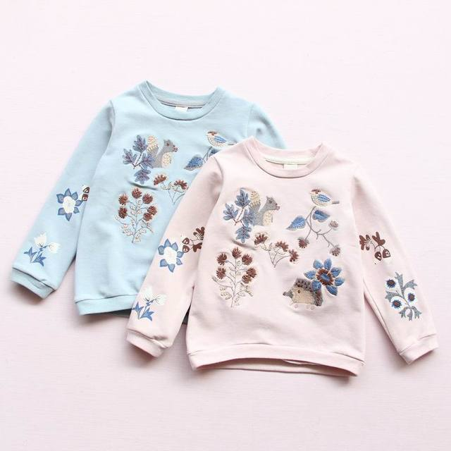 2017 Spring New Baby Girl Sweatshirts Animals Plant Embroidered Long Sleeve T-shirts Children Clothes 313685