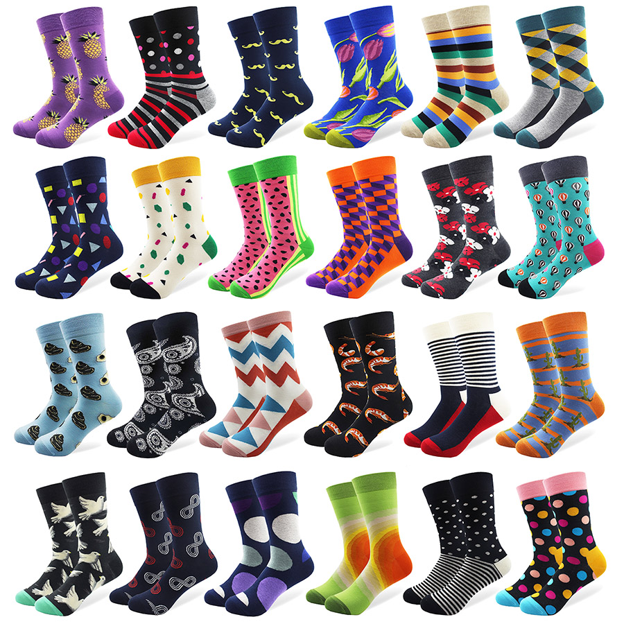 1 Pair Happy Funny Men's   Socks   High Quality Combed Cotton Long Colored Dress   Socks   Novelty Tube Skateboard Wedding   Socks   Cool