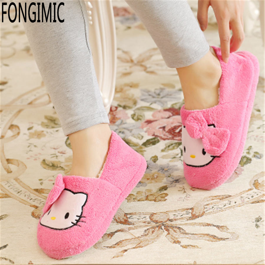 Autumn winter women fashion candy color sweet style cotton slipper indoor keep warm no slip home