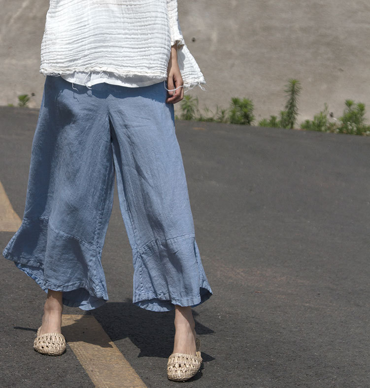 New Fashion Wide Leg Flare Ruffle Patchwork Women Pure Ramie Capris, Light Blue Pink Trendy Sweet Ladies Summer Thin Cool Pants