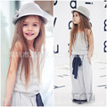 Fashion Girls Outfits Gray Girls Summer Sets Sleeveless T-Shirt+Long Dress Roupa Menina Casual Toddler Girls Sets
